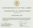 Department of the Army - Certificate of Appreciation